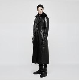 Punk Rave Men's Turn Down Fur Collar Military Uniform Long Coat Y818