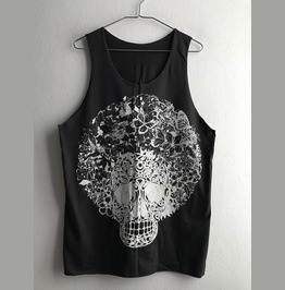 Skull Butterfly Streetwear Indie Fashion Pop Rock Unisex Tank Top Vest M