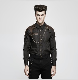 Punk Rave Steampunk Stirped Slim Fitted Shirt With Shoulder Chain Y819
