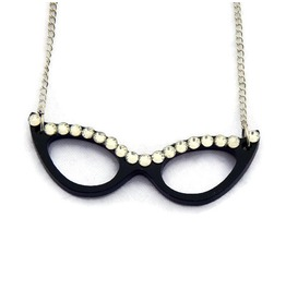Black Cat Eye Glasses Necklace