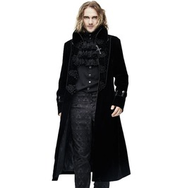 Men's Black Gothic Cross Accent Coat