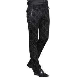 Gothic Steampunk Side Lace Up Patchwork Buckle Strap Zipper Jacquard Punk Trousers