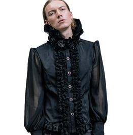 Men's Gothic High Collar Chiffon Black Shirt