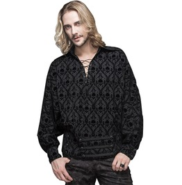 Men's Black Skull Laced Up Long Sleeve Shirt