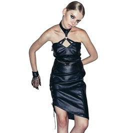 Women's Black Leather Fitted Dress