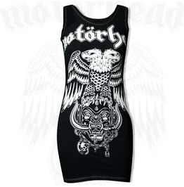 Pins & Bones Womens Fitted Sleeveless Motorhead Inspired Black Mini Dress