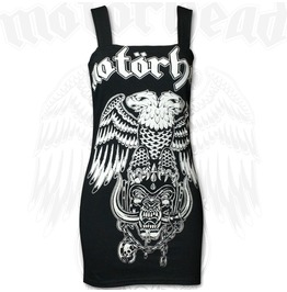 Pins & Bones Womens Fitted Tank Motorhead Inspired Black Cotton Strap Dress