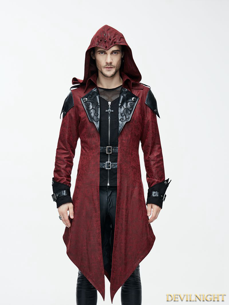 Black And Red Vintage Pu Leather Gothic Trench Coat For Men Ct06902
