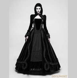 Black Romantic Gothic Ball Gown Long Dress Q 339