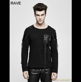 Black Gothic Military Uniform Long Sleeve T Shirt For Men T 487