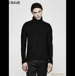 Black Gothic Stereo Stripe Knitted T Shirt For Men T 485