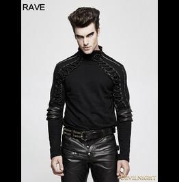 Black Steampunk Armor High Collar T Shirt For Men T 484