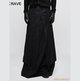 Black Gothic Half Long Skirt For Men Q 340