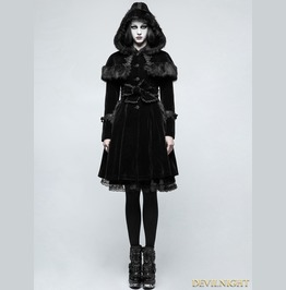 Black Sweet Gothic Lolita Faux Fur Coat Ly 065