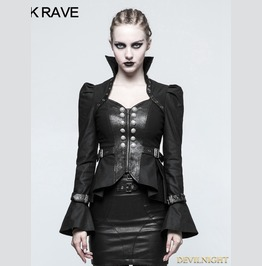 Black Steampunk Trumpet Sleeve Short Jacket For Women Y 778 Bk