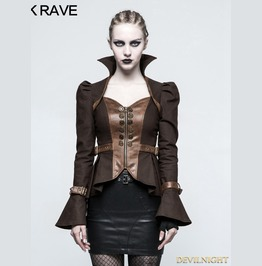 Brown Steampunk Trumpet Sleeve Short Jacket For Women Y 778 Co