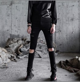 Punk Rock New Autumn Fashion Men's Ripped Jeans Skinny Pants