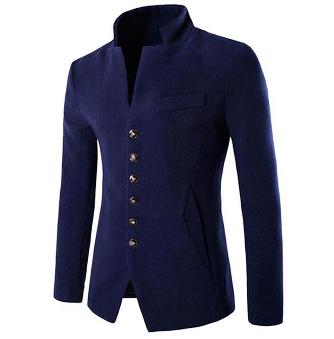 steampunk goth stand collar slim suit jacket men 150985