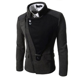 Steampunk Goth Patchwork Diagonal Zipper England Style Slim Suit Jacket Men