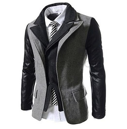 Goth Double Collar Pu Leather Sleeves Patchwork Suit Jacket Men