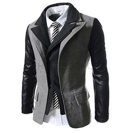 Rebelsmarket goth double collar pu leather sleeves patchwork suit jacket men coats 8