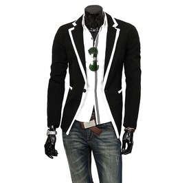 Gothic V Collar Patchwork One Button Slim Fit Suit Jacket Men