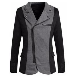 Goth Diagonal Zipper 2 Color Slim Fit Turn Down Collar Suit Jacket Men