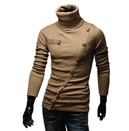Goth Steampunk Turtleneck Diagonal Buttons Design Sweatshirt Pullover Men