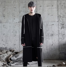 Fashion Men's Gothic Long Coat Casual Black Hoodie Jackets