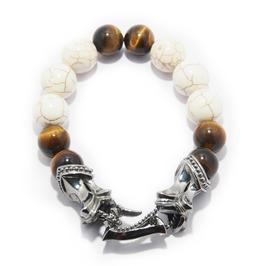 Trojan Horse:5 Stone Bracelet,Silver Bracelet,Bracelet,Unisex,Man,Rocker