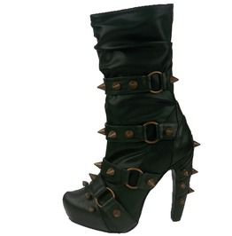 679094f7f239 Two Toned Spiked Metallic Rings Mid Calf Boots