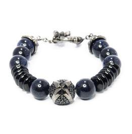 Troy:2 Stone Bracelet,Silver Bracelet,Bracelet,Unisex,Man,Rocker,Gothic,