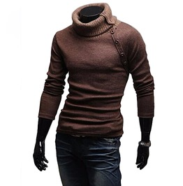 Turtleneck Slim Fit Knitted Long Sleeve Solid Color Men Sweaters Pullover