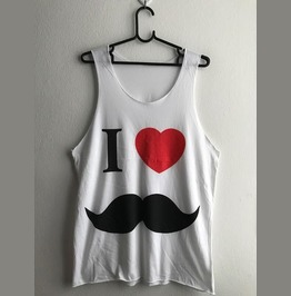 I Love Mustache Fashion Pop Rock Unisex Tank Top Vest M