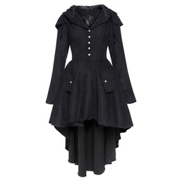 Vintage Long Sleeves Asymmetric Black Coat