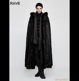 Black Gothic Witch Long Fur Cloak For Men Y 803