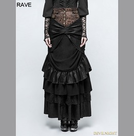 Black Steampunk Classical Half Skirt Q 329