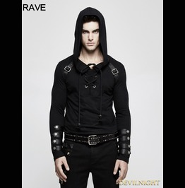 Black Gothic Punk Long Sleeve Hooded Sweater For Men T 483