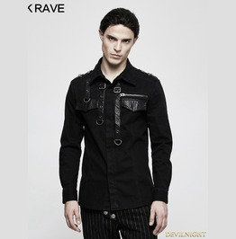 Black Gothic Punk Long Sleeve Shirt For Men Y 800