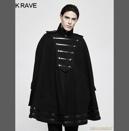 Black Gothic Military Uniform Worsted Cloak For Men Y 765