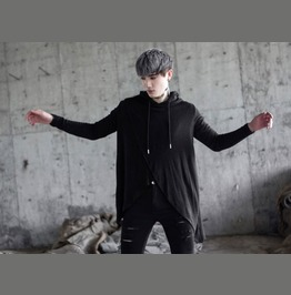 New Fashion Mens Black Hooded T Shirt Casual Shirts