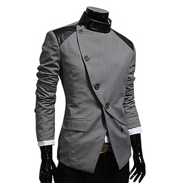 Goth Vintage Stand Collar Asymmetric Buttons Design Slim Suit Jacket Men