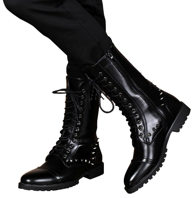 British Design Mid Calf Lace Up Leather Punk Rivets Rebelsmarket