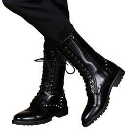 British Design Mid Calf Lace Up Leather Punk Rivets Motorcycle Boots Men