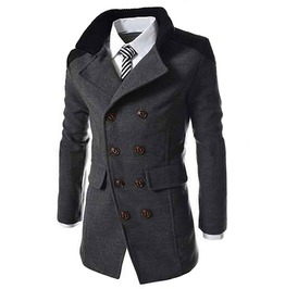 Goth British Military Double Breasted Wool Blend Men Pea Coat Jacket