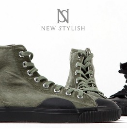 Pre Washed Military Canvas Mid Top Sneakers 393