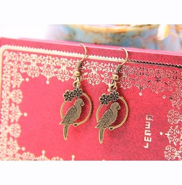 Retro Vintage Filigree Flower Antique Bronze Bird Dangle Hook Earrings