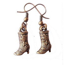 Vintage Retro Antique Bronze Country Western Cowboy High Heel Boot Earrings