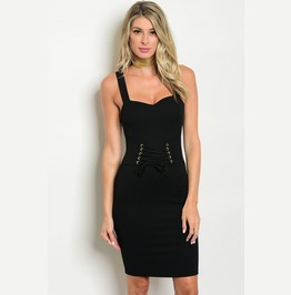Jezebel Black Corset Belt Dress