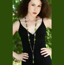 Green Howlite Skull Necklace